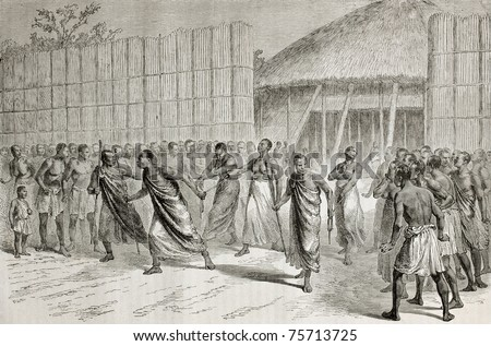 Old illustration of native Africans jailed women conducted to punishment. Created by Durand and Trichon, published on Le Tour du Monde, Paris, 1864