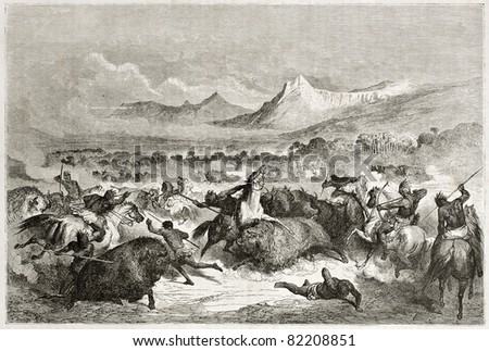 Old illustration of native Americans hunting buffalo. Created by Dore after Caitlin, published on Le Tour du Monde, Paris, 1860 - stock photo