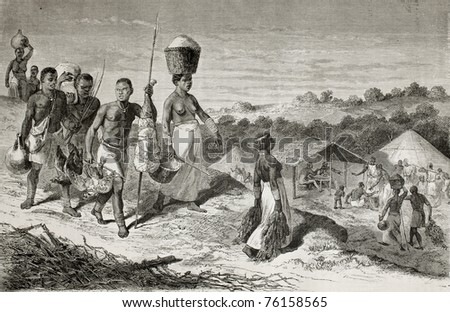 Old illustration of natives African carrying food supplies in the village. Created by Bayard and Pannemaker, published on Le Tour du Monde, Paris, 1864