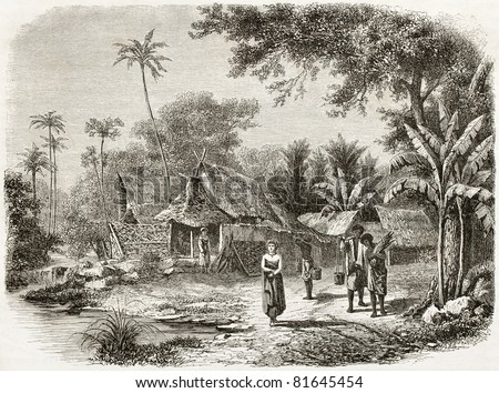 Old illustration of natives village in Java island, Indonesia. Created by De Bar and Maurand, published on Le Tour du Monde, Paris, 1860 - stock photo