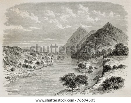 Old illustration of Nile river before confluence of Asua river, near the border between Uganda and Sudan. Created by De Bar, published on Le Tour du Monde, Paris, 1864 - stock photo
