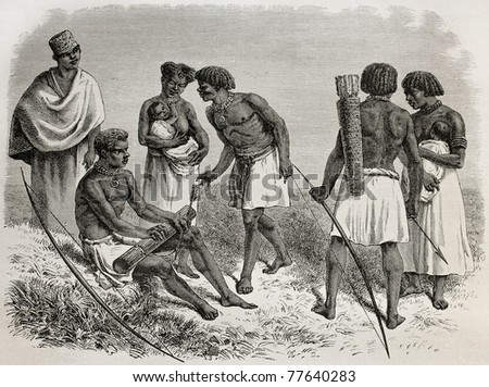 Old illustration of Ouzaramo region natives, Tanzania. Created by Bayard, published on Le Tour du Monde, Paris, 1864
