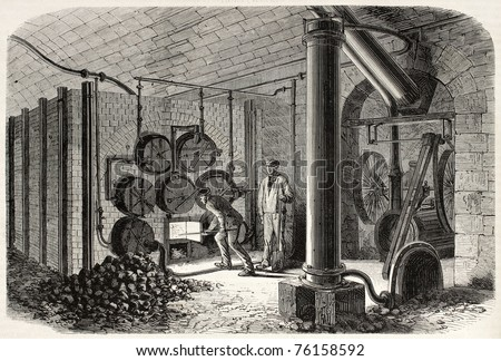 Old illustration of oxygen production at Hotel de Ville underground for urban gas lighting of Paris : gas lighting history - www.canuckmediamonitor.org