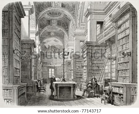 Old illustration of Palais Bourbon library, Paris. Created by Fichot and Cosson-Smeeton, published on L'Illustration, Journal Universel, Paris, 1868 - stock photo