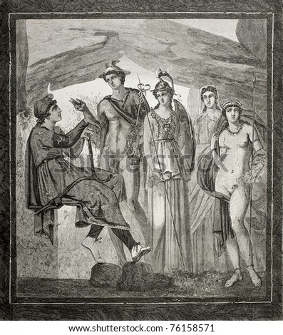 Old illustration of Paris judgment fresco in House of Paquius Proculus in Pompeii, Italy. Created by Therond and Hildibrand, published on Le Tour du Monde, Paris, 1864