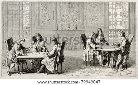 Old illustration of people playing trictrac on two tables. Created by Pauquet after Leclerc, published on Magasin Pittoresque, Paris, 1850 - stock photo