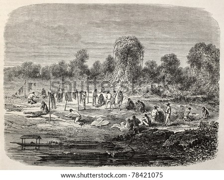 Old illustration of people washing and drying clothes and linen. Created by Riou and Laplante, published on Le Tour du Monde, Paris, 1864 - stock photo