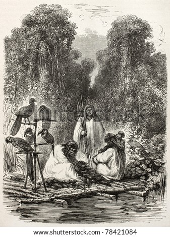 Old illustration of Peruvian Antis Natives on a Raft. Created by Riou, published on Le Tour du Monde, Paris, 1864 - stock photo