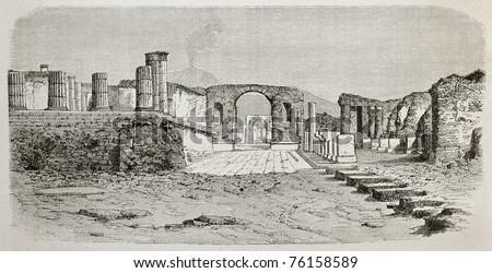 Old illustration of Pompeii forum, Italy. Created by De Bar, published on Le Tour du Monde, Paris, 1864 - stock photo