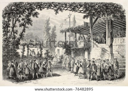 Old illustration of Porte Saint Martin theater in Paris: revue 1867, act III, scene II. Decor of Poisson. By Gaildrau and Cosson-Smeeton, published on L'Illustration, Journal Universel, Paris, 1868 - stock photo