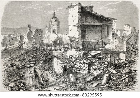 Old illustration of powder magazine explosion place near Mainz. By unidentified author, published on L'Illustration Journal Universel, Paris, 1857