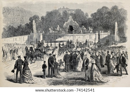 Old illustration of  Prince Imperial Eugene Louis Napoleon Bonaparte visiting Schonbrunn palace in Vienna, Austria. Created by Janet-Lange, published on L'Illustration, Journal Universel, Paris, 1868 - stock photo