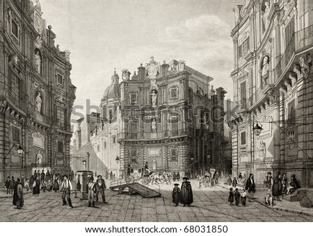 Old illustration of Quattro Cantoni in Palermo, Italy. Original engraving was created by B. Rosaspina and is datable to the first half of 19th c. - stock photo