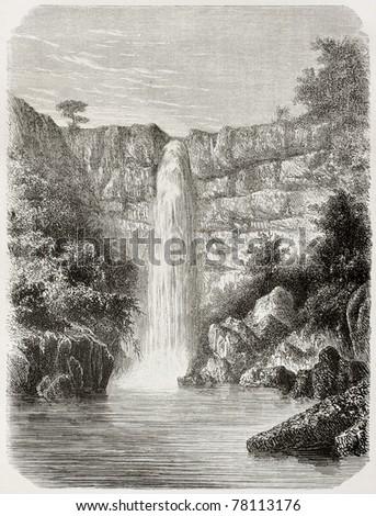 Old illustration of Reb river falls, Abyssinia. Created by De Bar, published on Le Tour du Monde, Paris, 1864 - stock photo
