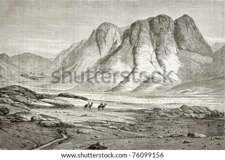 Old illustration of Saint Catherine's Monastery at the foot of Mount Sinai, Egypt. Created by Pottin and Bida, published on Le Tour du Monde, Paris, 1864 - stock photo