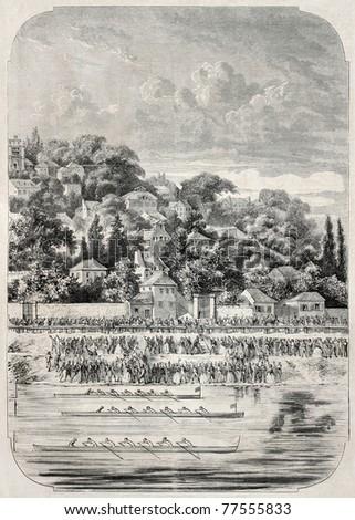 Old illustration of Saint Cloud regatta in the Seine, France. Created by De Bar, published un L'Illustration Journal Universel, Paris, 1857 - stock photo