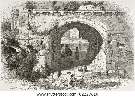 Old illustration of Saint Mary church entrance, in Hospitallers convent, Jerusalem. Created by Therond after photo of unknown author, published on Le Tour du Monde, Paris, 1860