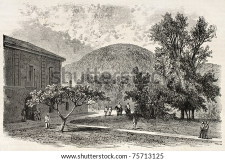 Old illustration of San Leucio hunting lodge, near Caserta, Italy. Created by Blanchard and Cosson-Smeeton, published on L'Illustration, Journal Universel, Paris, 1868 - stock photo