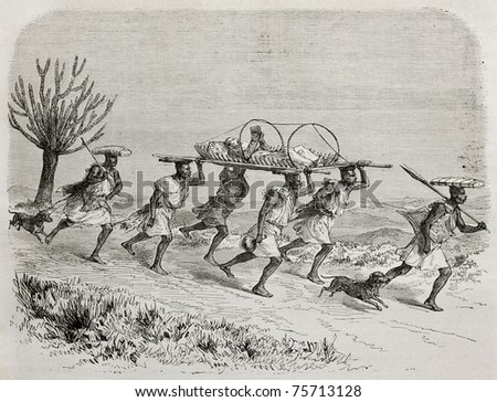 Old illustration of Scottish explorer James Augustus Grant traveling on a litter from Karague to Uganda. Created by Durand and Gauchard, published on Le Tour du Monde, Paris, 1864 - stock photo