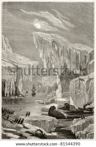Old illustration of Sir John Franklin North Arctic exploration. Created by Grandsire and Laly, published on Le Tour du Monde, Paris, 1860 - stock photo