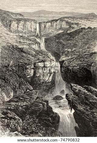 Old illustration of Tacazze falls,  Abyssinia. Created by Loudon, published on L'Illustration, Journal Universel, Paris, 1868 - stock photo