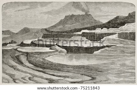 Old illustration of Te-Tarata (Pink and White Terraces, then buried by Mount Tawarera's eruption in 1886), New Zeland. By unknown author, published on L'Eau, by G. Tissandier, Hachette, Paris, 1873 - stock photo