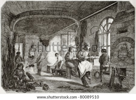 Old illustration of tempering and bronzing workshop in antique needle factory. By unidentified author, published on Magasin Pittoresque, Paris, 1850 - stock photo