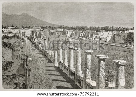 Old illustration of Temple of Venus ruins, Pompeii, Italy. Created by Therond, published on Le Tour du Monde, Paris, 1864 - stock photo