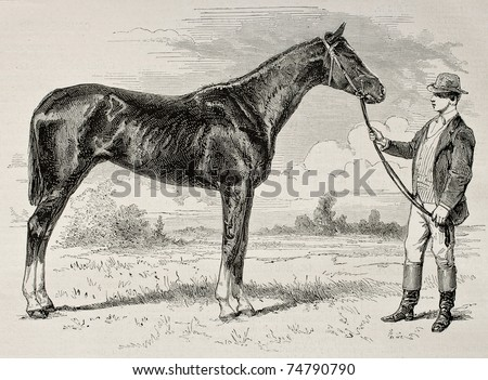 Old illustration of The Earl, winner of  the Grad Prix de Paris in 1868. Created by Janet-Lange and Cosson-Smeeton, published on L'Illustration, Journal Universel, Paris, 1868 - stock photo