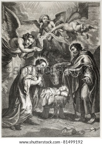 Old illustration of the holy Nativity. Engraved by Jourdain after painting of Rubens,  published on L'Illustration Journal Universel, Paris, 1857 - stock photo