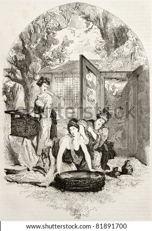 Old illustration of toilet of a Japanese lady. Created by Morin after Japanese painting by unidentified author, published on Le Tour du Monde, Paris, 1860 - stock photo