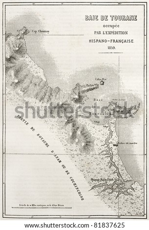 Old illustration of Tourane (nowadays Da Nang) bay map. Created by Erhard and Bonaparte, published on Le Tour du Monde, Paris, 1860 - stock photo