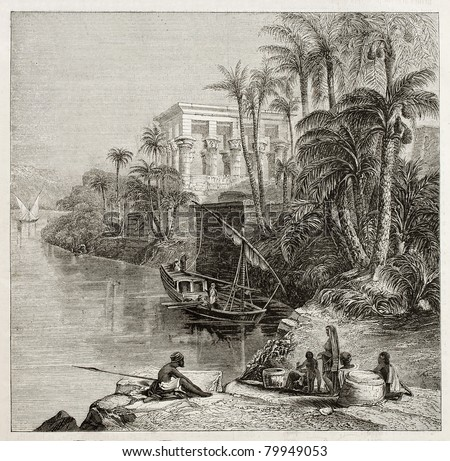 Old illustration of Trajan kiosk, hypaethral temple, today in Agilkia Nile island, transported from Philae island., Egypt. Created by Bartlett, published on Magasin Pittoresque, Paris, 1850 - stock photo