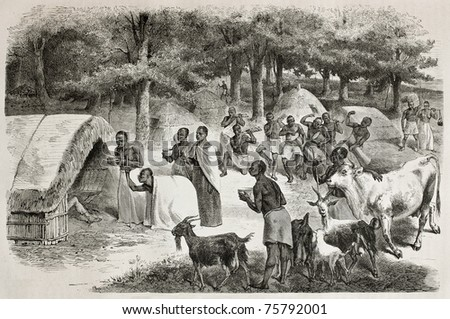 Old illustration of travelers encampment in Karague, in the lake Victoria region. Created by Bayard, and Gauchard, published on Le Tour du Monde, Paris, 1864