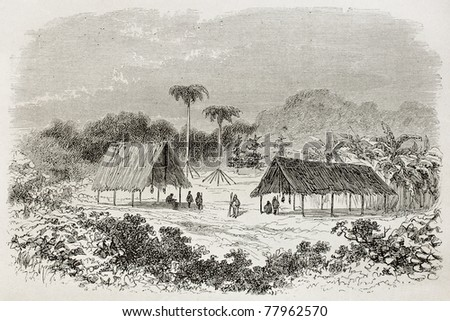 Old illustration of tribal shelters in Manugali, Peru. Created by Riou, published on Le Tour du Monde, Paris, 1864 - stock photo