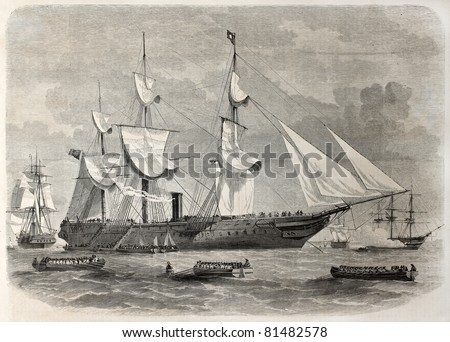 Old illustration of troops boarding in Spithead, England, leaving for India. By unidentified author, published on L'Illustration, Journal Universel, Paris, 1857 - stock photo