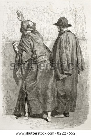 Old illustration of two praying Jews at the Western Wall, Jerusalem. Created by Bida and Gusman, published on Le Tour du Monde, Paris, 1860 - stock photo