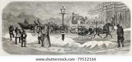 Old illustration of two sleighs in Broadway, New York. Created by Job, published on L'Illustration Journal Universel, Paris, 1857 - stock photo