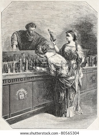 Old illustration of two women looking at goods on display. Created by Godefroy-Durand after tablet of Hamon,  published on L'Illustration Journal Universel, Paris, 1857