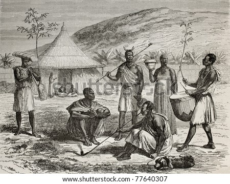 Old illustration of Ugandan boss and his living context. Created by Durand and Bertrand, published on Le Tour du Monde, Paris, 1864 - stock photo
