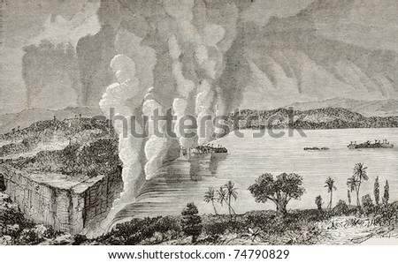 Old illustration of Victoria falls, between Zambia and Zimbabwe. Original, by unknown author, was published on L'Eau, by G. Tissandier, Hachette, Paris, 1873 - stock photo
