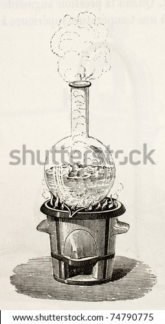 Old illustration of water boiling in a Florence flask. Original, by unknown author, was published on L'Eau, by G. Tissandier, Hachette, Paris, 1873 - stock photo