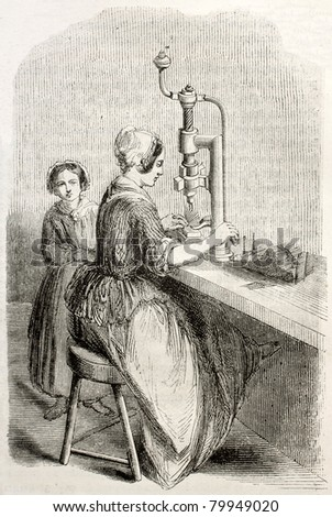 Old illustration of woman working with piercing machine in a needle factory. By unidentified author, published on Magasin Pittoresque, Paris, 1850 - stock photo