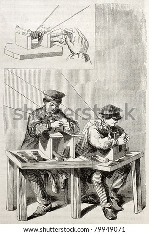 Old illustration of workmen improving needle eyes in an antique factory. By unidentified author, published on Magasin Pittoresque, Paris, 1850 - stock photo