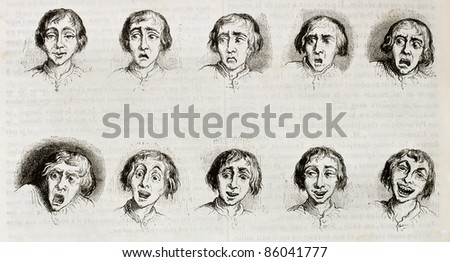Old illustration showing different expressions and moods. Created by Grandville, published on Magasin Pittoresque, Paris, 1842 - stock photo