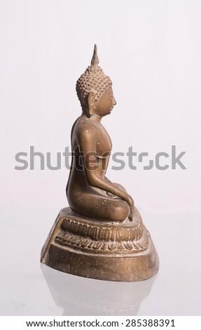 Old image of Buddha .Buddha on a white background.  - stock photo