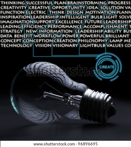Old incandescent electric bulb idea concept on black surface - stock photo
