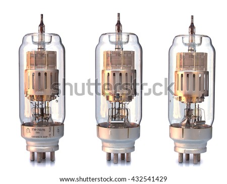 old incandescent lamp, vintage generator isolated on white with clipping path rarity perspective