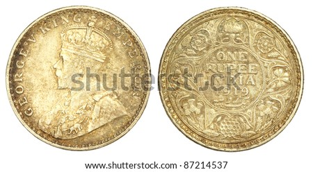 Old Indian One Rupee Coin of 1919 - stock photo