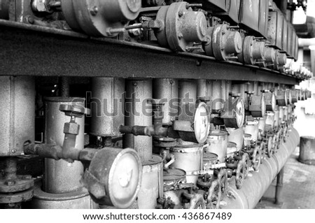 old industrial equipment with valves and tubes